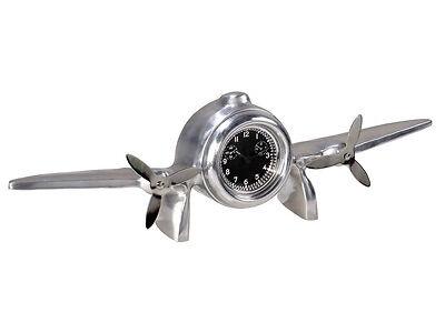 Art Deco Flight Clock Desktop Mantel Aluminum Aviation Decor 1930's Reproduction