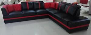 LORD SELKIRK FURNITURE -Alexia Sectional in Microfibre Leather Gel in Red and White Brand New - $2599.00