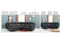 🚚 HOME DELIVERY🚚 BRAND NEW MILANO FAUX LEATHER RECLINER SOFAS, NOW IN BLACK OR BROWN