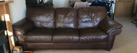 Brown leather 3 sweater sofa with matching armchair. Both in good condition.