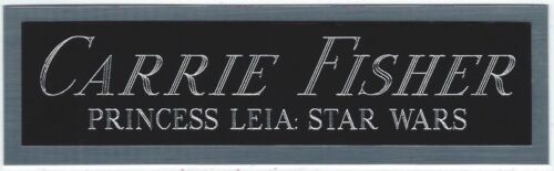 CARRIE FISHER STAR WARS PRINCESS LEIA NAMEPLATE AUTOGRAPHED Signed BOOK-PHOTO