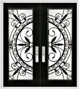 Wrought iron Glass Stained Glass Door glass inserts Design WG30