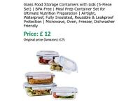 Glass Food Storage Containers with Lids (5-Piece Set) | BPA-Free