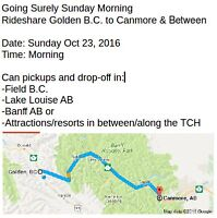 I am driving From Golden 2 LakeLouise 2 Banff 2 Canmore Sun morn
