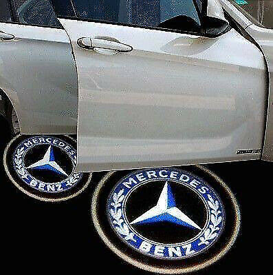 2 X 3d Mercedes Benz Cob Led Door Logo Courtesy Light