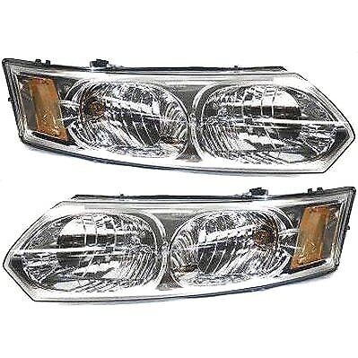 Headlight Set For 2003 2007 Saturn Ion Left and Right Halogen With Bulb 2Pc