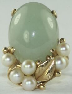 vintage mings 14k gold large jade and pearl ring size 4 75
