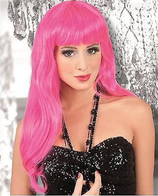 WOW Langhaar Perücke hot pink Party Girl elegant chique Damen Langhaarperücke