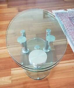 (*-* )Tempered Glass Coffee Table, Dual Glass Tabletops