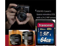 Canon EOS M3 + EF-M 15-45mm and 18-55mm IS STM Lens SDXC 64GB Bundle VGC