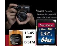 Canon EOS M3 + EF-M 15-45mm IS STM Lens + 64GB SDXC Bundle VGC