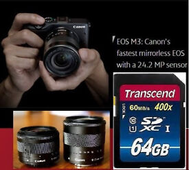 Canon EOS M3 + EF-M 15-45mm + 18-55mm IS STM Lens SDXC + 64GB SDXC Bundle VGC