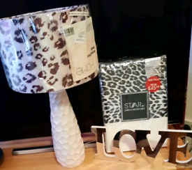 Bnwt Star double bedding plus bedside lamp with matching shade