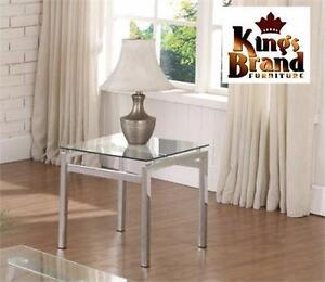 NEW KING'S BRAND GLASS TOP TABLE MODERN DESIGN CHROME FINISH WITH GLASS TOP END TABLE LIVING ROOM COFFEE TABLE 99320121