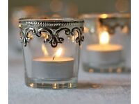 Vintage Silver and Glass Tea Light holders - weddings