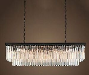 Rectangular chandelier w/black frame & solid crystal prism beams