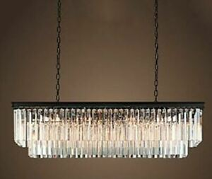 Rectangle 2-level chandelier w/matte black frame & crystal prism