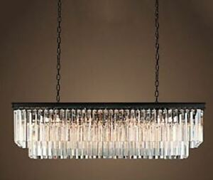 Rectangular chandelier w/black frame solid crystal prism beams