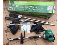 4 in 1 multi garden tool. Chainsaw, grass trimmer, hedge trimmer and brush cutter. 2 yr warranty