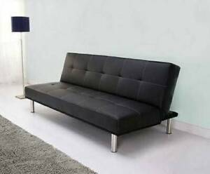 New Black Leather Futon Sofa / Couch Bed (Can Deliver)