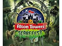Alton towers tickets 29th october x 2.Scarefest