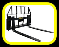 Pallet Forks for skid steer quick attach tractors, 3700 lb cap.