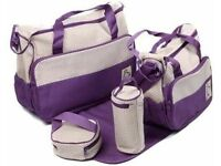 JOB LOT 5 PIECE BABY CHANGING BAG PURPLE NEW AND SEALED