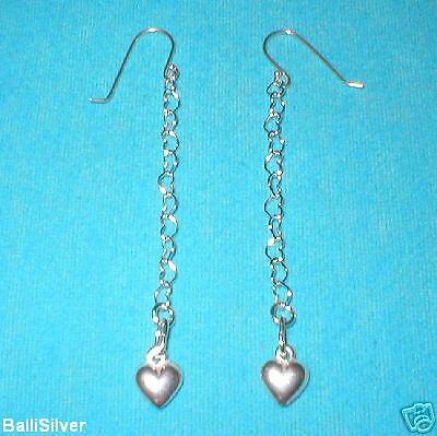 6 pairs St Silver HEART Dangle EARRINGS w/ HEART Charms