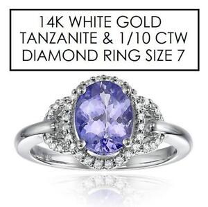 NEW* STAMPED 14K DIAMOND RING 7 - 129069737 - JEWELLERY JEWELRY 14K WHITE GOLD TANZANITE 1/10 CTW DIAMOND