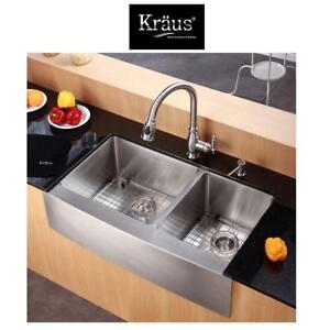 "NEW KRAUS 36"" DBL BOWL KITCHEN SINK - 125637727 - FARMHOUSE APRON 60/40 STAINLESS STEEL DOUBLE BOWL 16 GAUGE 36"""