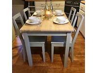 Farmhouse / Country Dining table & chairs. Refurbished In Farrow & Ball Eggshell Paint