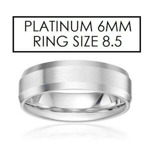 NEW* STAMPED PLATINUM RING 8.5 - 130423456 - JEWELLERY JEWELRY 6MM