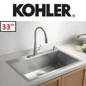 "NEW KOHLER UNDERMOUNT KITCHEN SINK - 129010393 - SELF RIMMING/UNDERCOUNTER STAINLESS STEEL  33"""