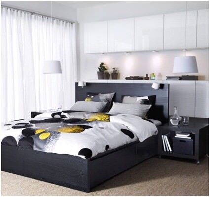 Malam bed frame with 4 storage boxes + two bed side + 2 lamp+ ...