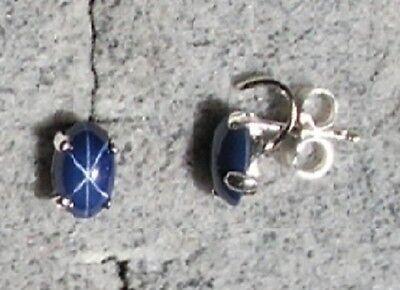 Linde Lindy Cornflr Blue Star Sapphire Created 925 Sterling Silver Stud Earrings