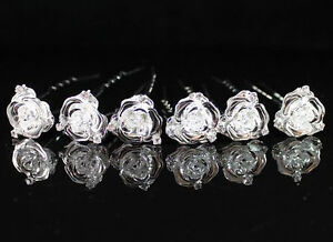 6X ROSE BRIDAL CLEAR AUSTRIAN RHINESTONE CRYSTAL HAIRPIN PICKS WEDDING P1561