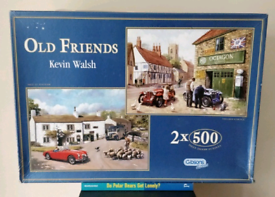Jigsaw PUZZLES GIBSON 2 x 500 title 'OLD FRIENDS' ONE PIECE MISSING