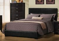 SALE 30% OFF - BRAND NEW UPHOLSTERED BLACK LEATHER BED