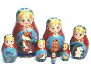 Fairy tale animals  7pc  Russian Nesting Doll set