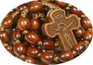 Catholic Red Sandalwood Rosewood Beads Rosary Cross