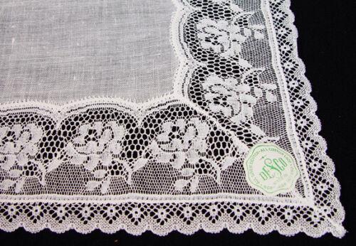 VTG Off White Linen Lace Wedding Bridal  DESCO  Hankie PRISTINE  NWT