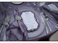 Wedding Gold Sliver Glass Beaded Charger Plate @ £1.00 DISCOUNT limited Period Hire ONLY