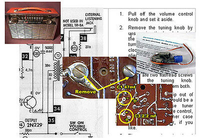GE P780 A, B & H Transistor Radio Electrolytic Capacitor Recap Kit