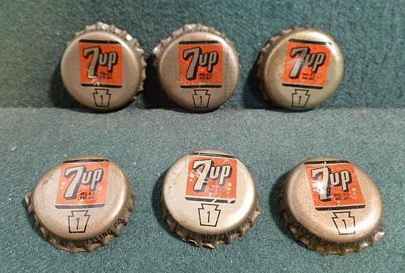 Lot of 6 1950s 7up Cork Lined Soda Bottle Cap Crowns PA Tax Keystone