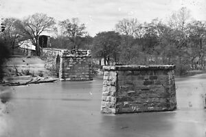 New 5x7 Civil War Photo: Richmond & Danville Railroad Bridge Ruins