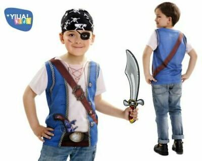 PIRATE BOY Kids Fancy Dress T-Shirt Costume Dressing Up Outfit  Age 4-6 years ()