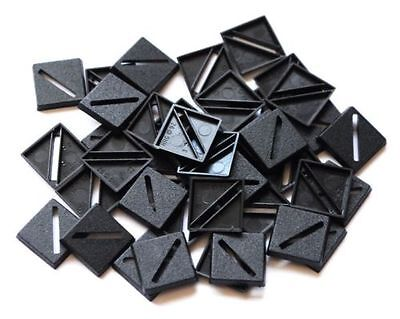 100 (One Hundred) 20mm Square Slotta Bases Wargaming Roleplaying Black Plastic