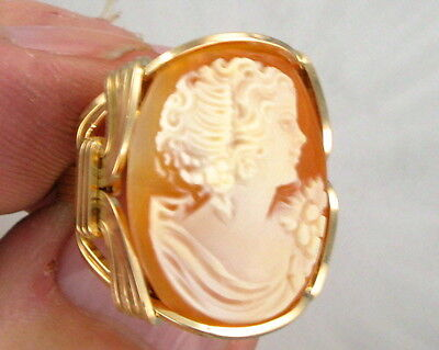 VINTAGE ANTIQUE SHELL CAMEO RING 14KT ROLLED GOLD  SIZE 5 TO 15 WIRE WRAPPED