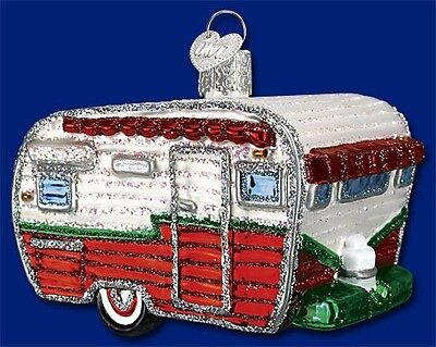 TRAVEL TRAILER OLD WORLD CHRISTMAS GLASS RV CAMPER CAMPING ORNAMENT NWT 46041 ()