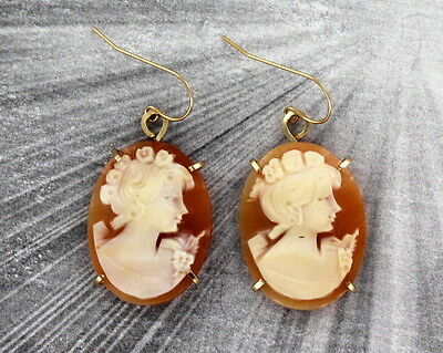 Carved Shell Cameo Earrings - Vintage Antique Shell Cameo Earrings Hand Carved in Italy in 14KT Rolled Gold